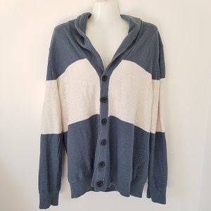 BR white and blue button up sweater
